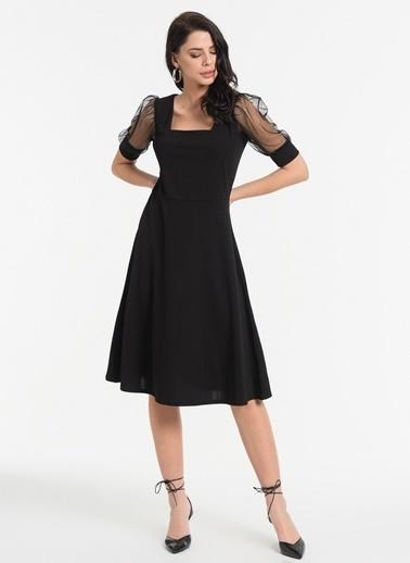 Styletag Kolları Tüllü Elbise Siyah